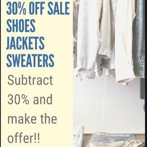 30% off sale!! Sweaters/ shoes/ jackets! Men/women